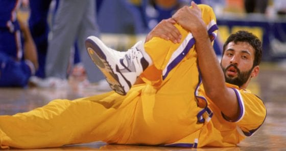 Vlade Divac in the Nike Air Force 3. Photo via Mike Powell/Getty