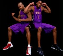 Tracy McGrady wearing the adidas Lithicon PE, Vince Carter in And1 Tai Chi