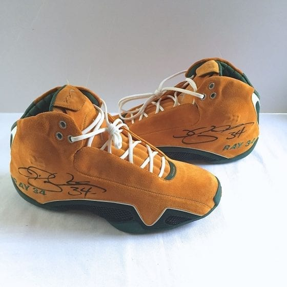 Autographed Ray Allen's Jordan 21 Yellow Suede PE Seattle Supersonics Player Exclusive For Sale