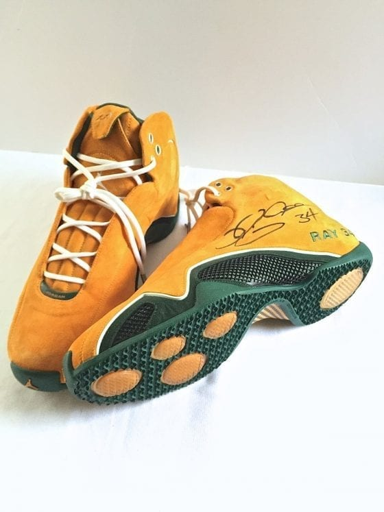 Autographed Ray Allen's Jordan 21 Yellow Suede PE Seattle Supersonics Player Exclusive